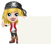 Girl with Pirate Costume Cartoon Vector Character AKA Dea - Sign 7