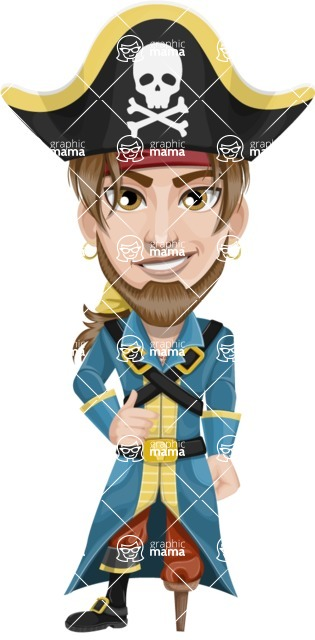 Peg Leg Pirate Cartoon Vector Character AKA Captain Austin - Normal