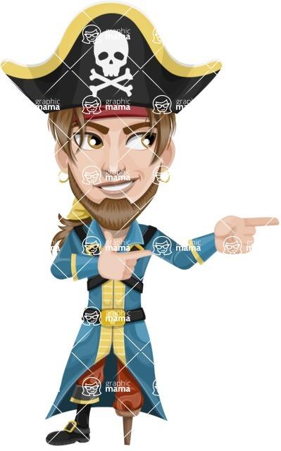 Peg Leg Pirate Cartoon Vector Character AKA Captain Austin - Point 2
