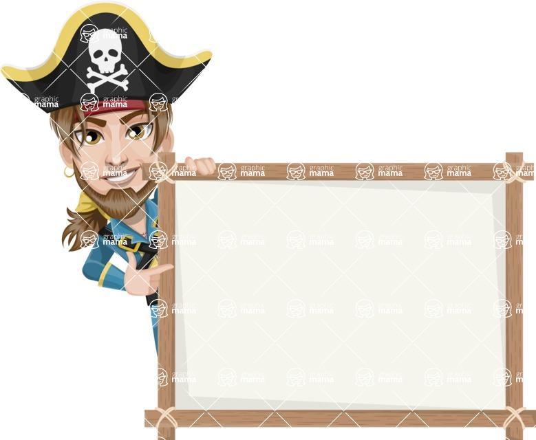 Peg Leg Pirate Cartoon Vector Character AKA Captain Austin - Presentation 5