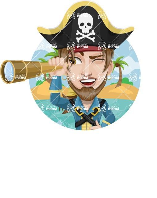 Peg Leg Pirate Cartoon Vector Character AKA Captain Austin - Shape 1