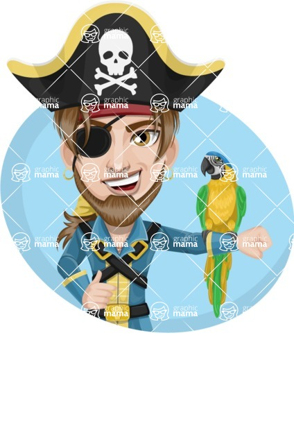 Peg Leg Pirate Cartoon Vector Character AKA Captain Austin - Shape 3