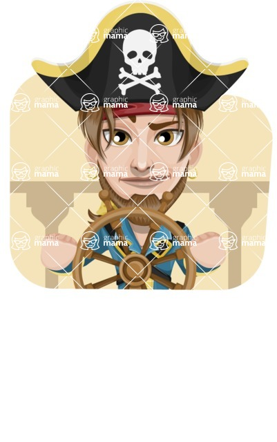 Peg Leg Pirate Cartoon Vector Character AKA Captain Austin - Shape 4