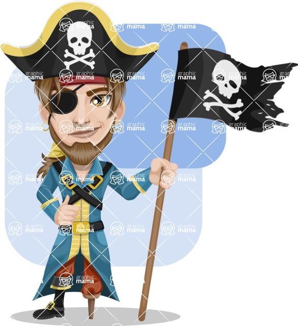 Peg Leg Pirate Cartoon Vector Character AKA Captain Austin - Shape 5