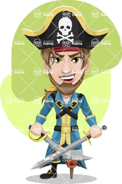 Peg Leg Pirate Cartoon Vector Character AKA Captain Austin - Shape 8