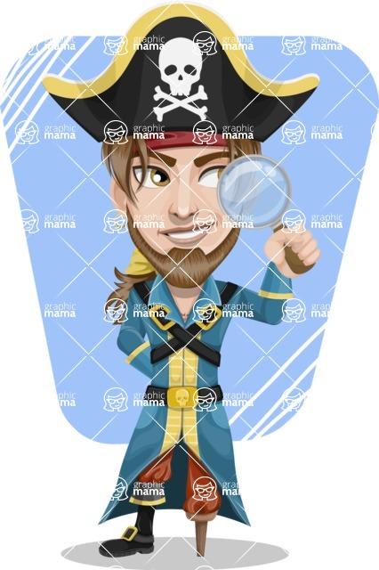 Peg Leg Pirate Cartoon Vector Character AKA Captain Austin - Shape 9
