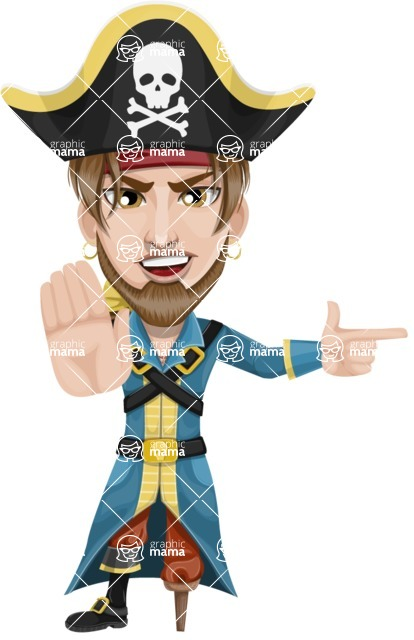 Peg Leg Pirate Cartoon Vector Character AKA Captain Austin - Direct Attention