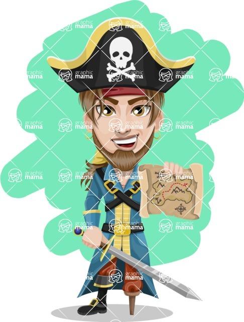 Peg Leg Pirate Cartoon Vector Character AKA Captain Austin - Shape 12