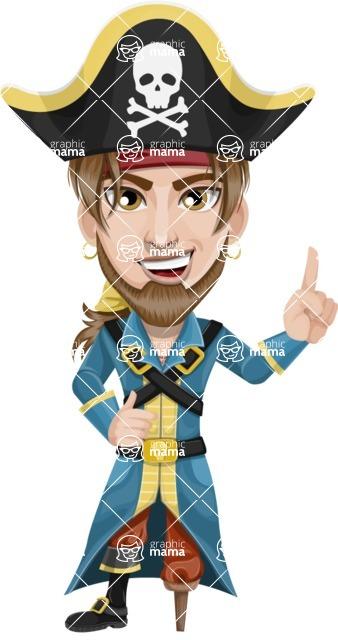 Peg Leg Pirate Cartoon Vector Character AKA Captain Austin - Attention