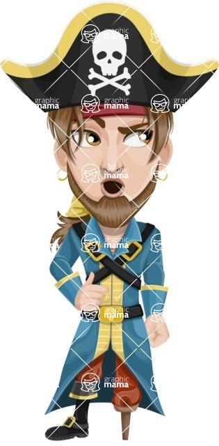 Peg Leg Pirate Cartoon Vector Character AKA Captain Austin - Rolls Eyes