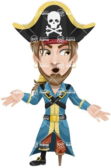 Peg Leg Pirate Cartoon Vector Character AKA Captain Austin - Lost 2