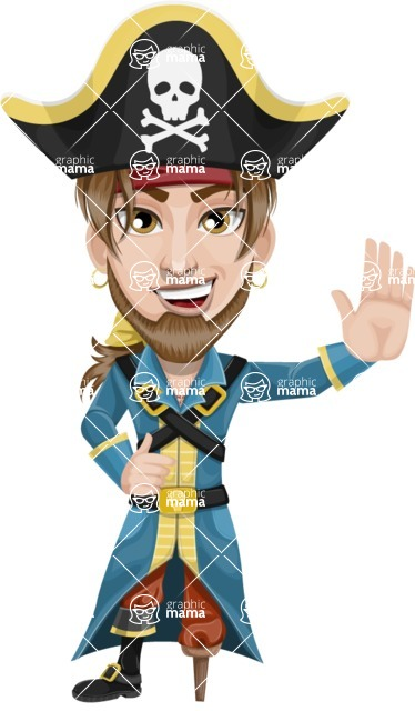 Peg Leg Pirate Cartoon Vector Character AKA Captain Austin - Hello