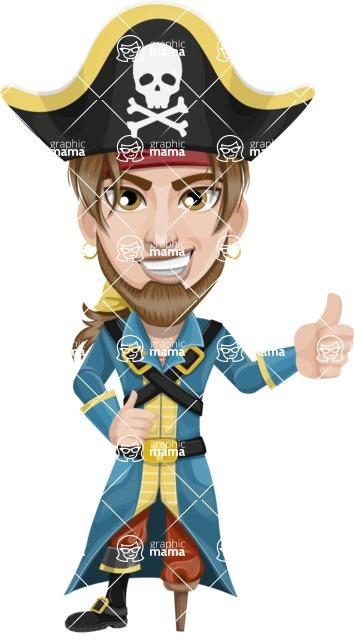 Peg Leg Pirate Cartoon Vector Character AKA Captain Austin - Thumbs Up
