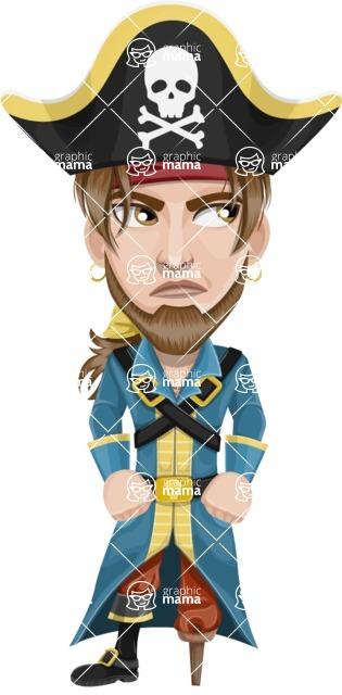 Peg Leg Pirate Cartoon Vector Character AKA Captain Austin - Bored 2