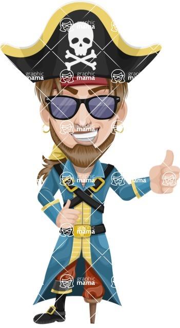 Peg Leg Pirate Cartoon Vector Character AKA Captain Austin - Sunglasses