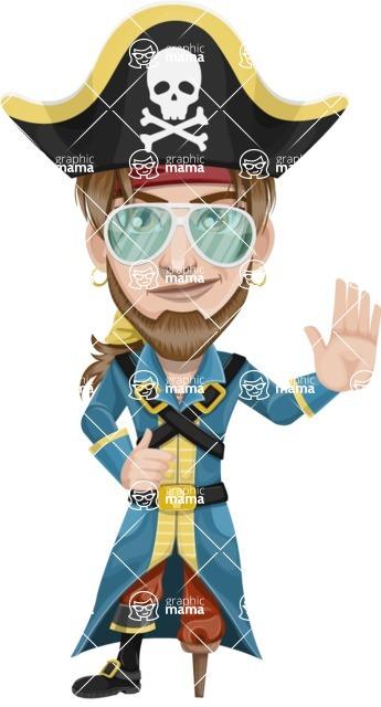 Peg Leg Pirate Cartoon Vector Character AKA Captain Austin - Sunglasses 2