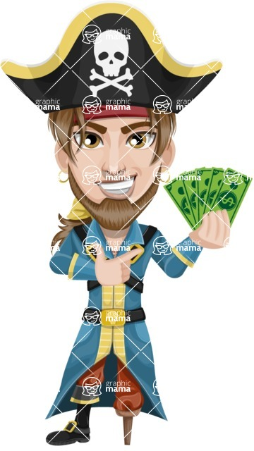 Peg Leg Pirate Cartoon Vector Character AKA Captain Austin - Show me the Money