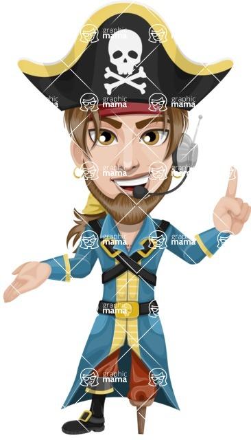 Peg Leg Pirate Cartoon Vector Character AKA Captain Austin - Support 2