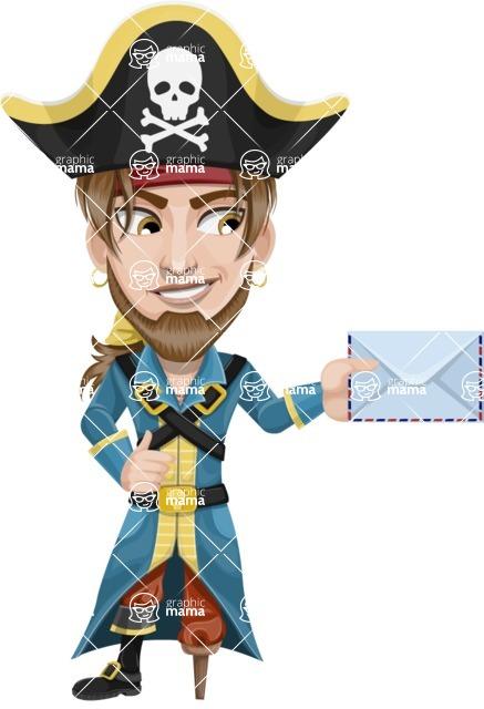 Peg Leg Pirate Cartoon Vector Character AKA Captain Austin - Letter