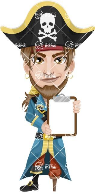 Peg Leg Pirate Cartoon Vector Character AKA Captain Austin - Note 3