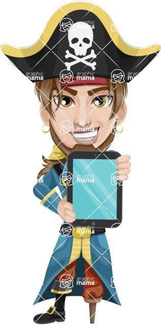 Peg Leg Pirate Cartoon Vector Character AKA Captain Austin - iPad 1