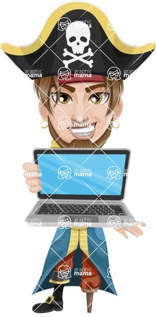 Peg Leg Pirate Cartoon Vector Character AKA Captain Austin - Laptop 1