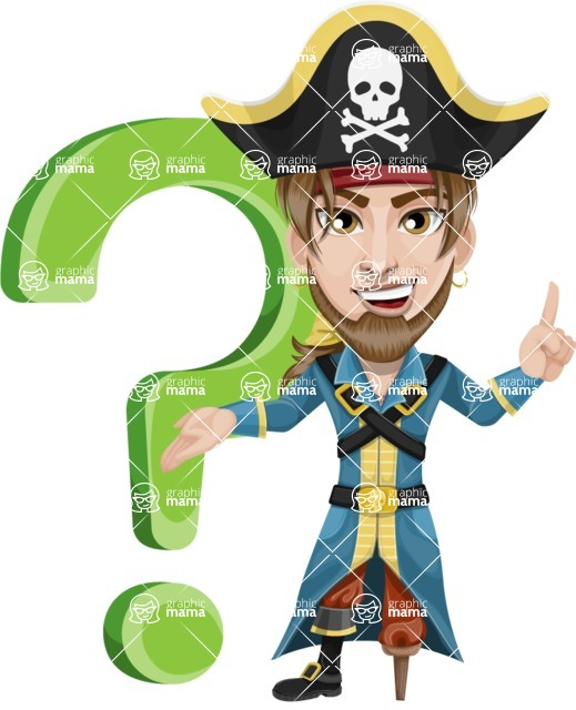 Peg Leg Pirate Cartoon Vector Character AKA Captain Austin - Question mark