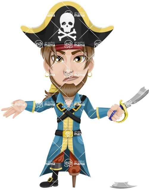Peg Leg Pirate Cartoon Vector Character AKA Captain Austin - Under Construction