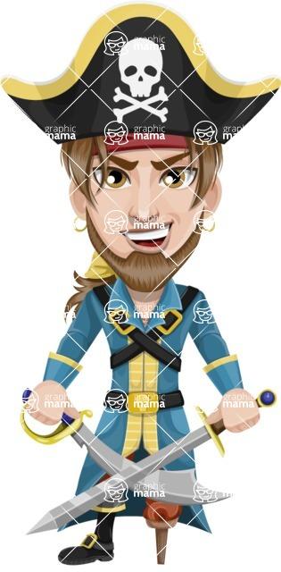 Peg Leg Pirate Cartoon Vector Character AKA Captain Austin - Sword 2