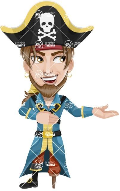 Peg Leg Pirate Cartoon Vector Character AKA Captain Austin - Showcase 2