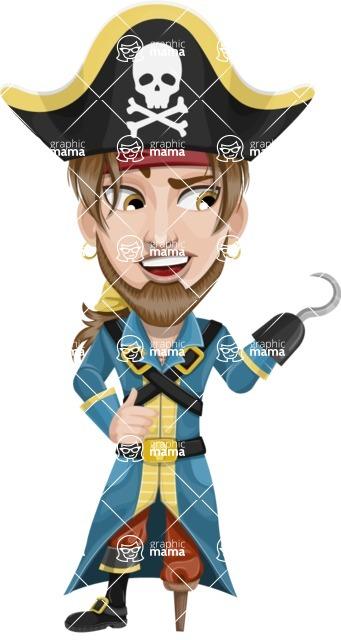 Peg Leg Pirate Cartoon Vector Character AKA Captain Austin - Hook