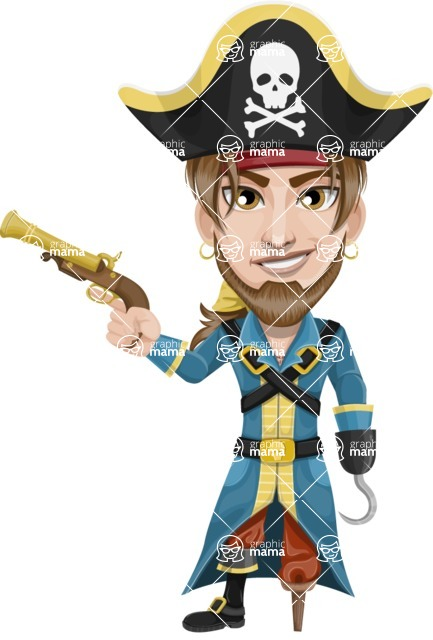 Peg Leg Pirate Cartoon Vector Character AKA Captain Austin - Gun and Hook
