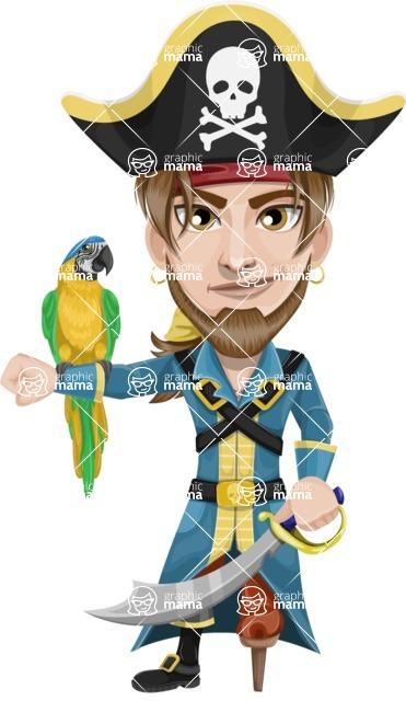 Peg Leg Pirate Cartoon Vector Character AKA Captain Austin - Parrot and Sword