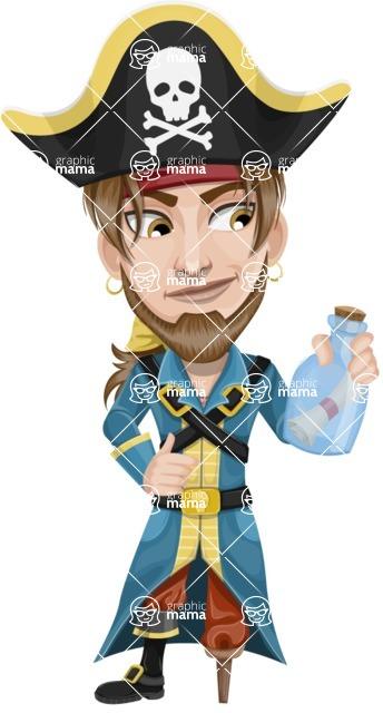 Peg Leg Pirate Cartoon Vector Character AKA Captain Austin - Map in a bottle