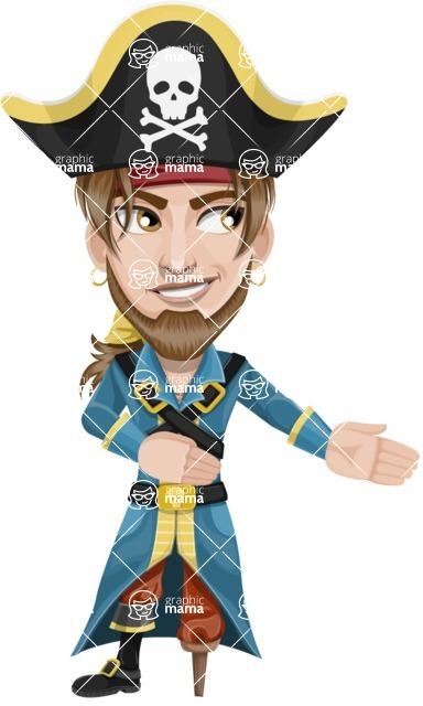 Peg Leg Pirate Cartoon Vector Character AKA Captain Austin - Show