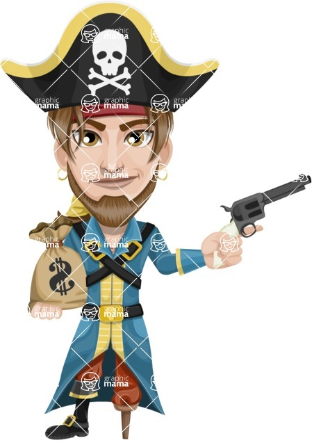 Peg Leg Pirate Cartoon Vector Character AKA Captain Austin - Bag of money and Gun