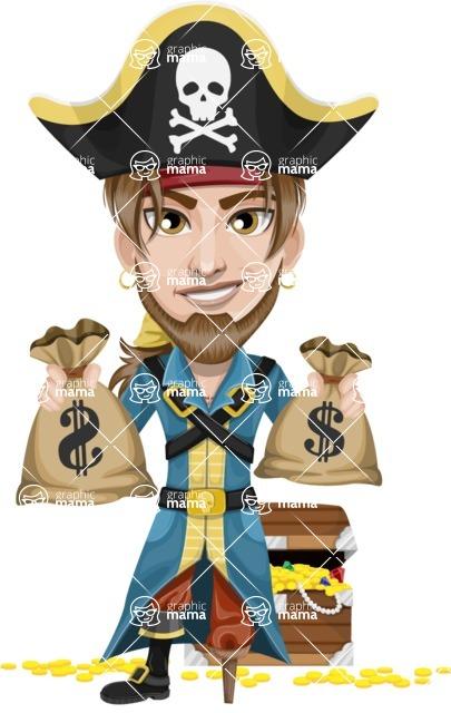 Peg Leg Pirate Cartoon Vector Character AKA Captain Austin - Treasure chest and bags of money