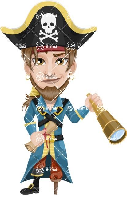 Peg Leg Pirate Cartoon Vector Character AKA Captain Austin - Map and Spy glass