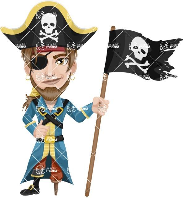 Peg Leg Pirate Cartoon Vector Character AKA Captain Austin - Pirate flag
