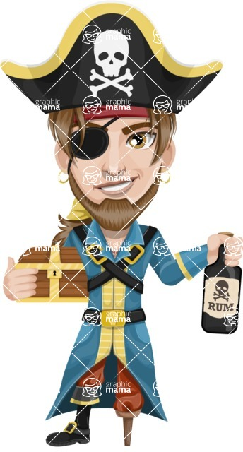 Peg Leg Pirate Cartoon Vector Character AKA Captain Austin - Treasure chest and Rum