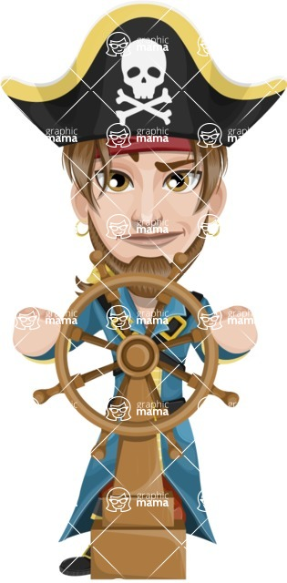 Peg Leg Pirate Cartoon Vector Character AKA Captain Austin - Ship wheel