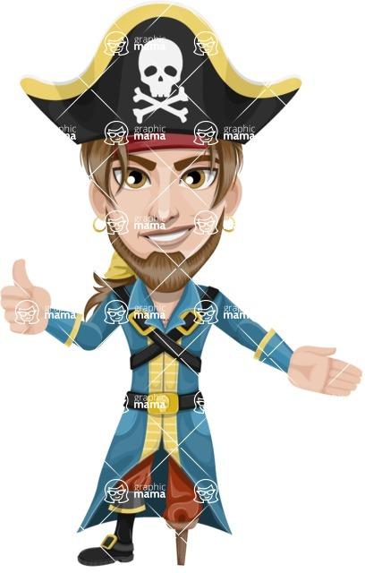 Peg Leg Pirate Cartoon Vector Character AKA Captain Austin - Show 2