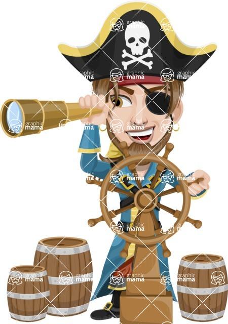 Peg Leg Pirate Cartoon Vector Character AKA Captain Austin - Ship wheel and Spy glass