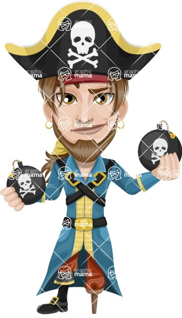 Peg Leg Pirate Cartoon Vector Character AKA Captain Austin - Bombs