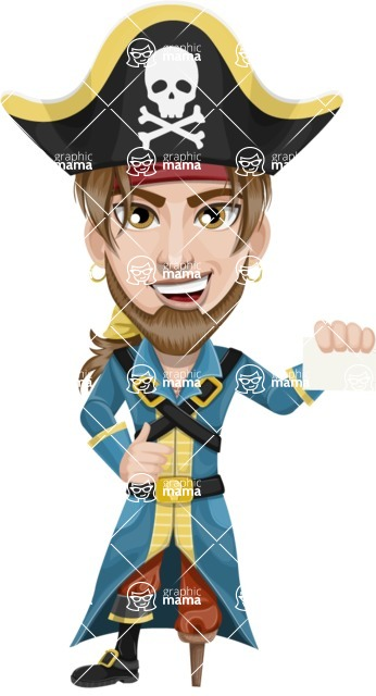 Peg Leg Pirate Cartoon Vector Character AKA Captain Austin - Sign 1