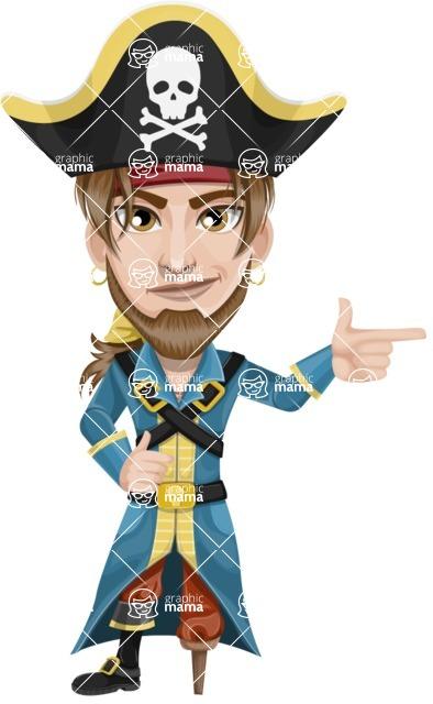 Peg Leg Pirate Cartoon Vector Character AKA Captain Austin - Point