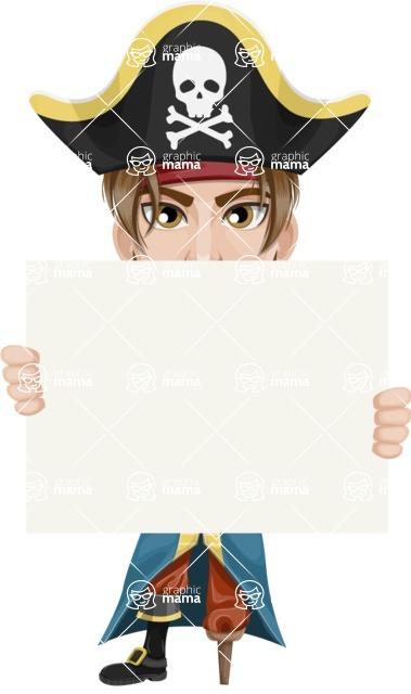 Peg Leg Pirate Cartoon Vector Character AKA Captain Austin - Sign 6