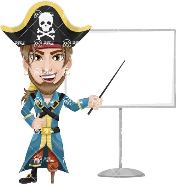 Peg Leg Pirate Cartoon Vector Character AKA Captain Austin - Presentation 1