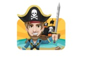 Peg Leg Pirate Cartoon Vector Character AKA Captain Austin - Shape 2
