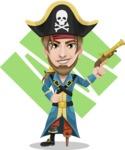 Peg Leg Pirate Cartoon Vector Character AKA Captain Austin - Shape 6